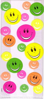 Cello Cellophane Favor Treat Party Bags w/Twist-Ties-Smiley