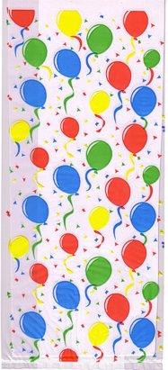 Cello Cellophane Favor Party Bags w/Twist-Ties-Festive Balloons