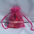 3x4 Mesh Fishnet Wedding Favor Gift Bags/Jewelry Pouches - Hot Pink (10 Bags)