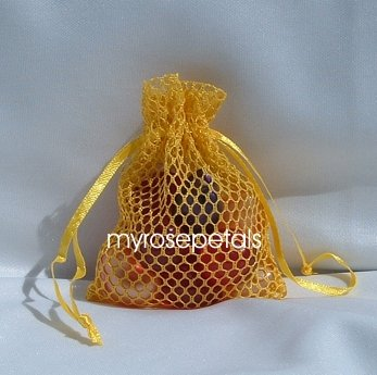 3x4 Mesh Fishnet Wedding Favor Gift Bags/Jewelry Pouches - Gold (10 Bags)