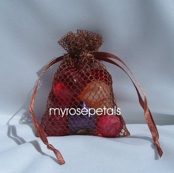 3x4 Mesh Fishnet Wedding Favor Gift Bags/Jewelry Pouches - Copper (10 Bags)