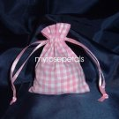 3x4 Cotton Gingham Wedding Favor Gift Bags/Pouches - Pink (10 Bags)