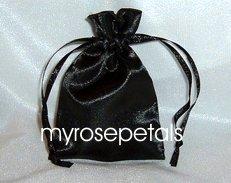 "Satin Wedding Favor Bags/Pouches - 4""x6"" - Black (10 Bags)"