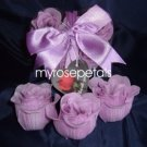 Scented Rose Shaped Soaps in Heart Box - Lavender - with Satin Ribbon- Wedding Favors