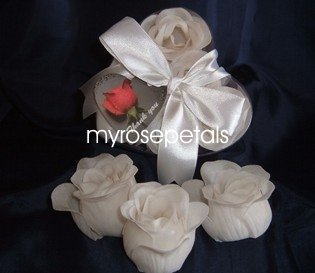 Scented Rose Shaped Soaps in Heart Box - White (Set of 12)- with Satin Ribbon- Wedding Favors