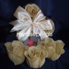 Scented Rose Shaped Soaps in Heart Box - Ivory (Set of 72)- with Satin Ribbon- Wedding Favors
