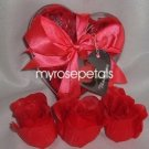 Scented Rose Shaped Soaps in Heart Box - Red (Set of 72)- with Satin Ribbon- Wedding Favors