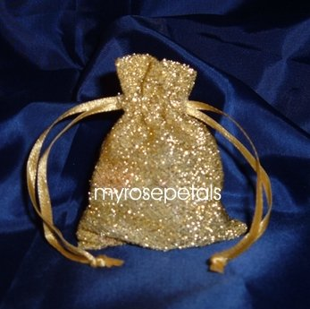 3x4 Sparkle Fabric Wedding Favor Gift Bags/Pouches - Gold (10 Bags)