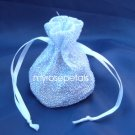 3x4 Sparkle Fabric Wedding Favor Gift Bags/Pouches - White (10 Bags)