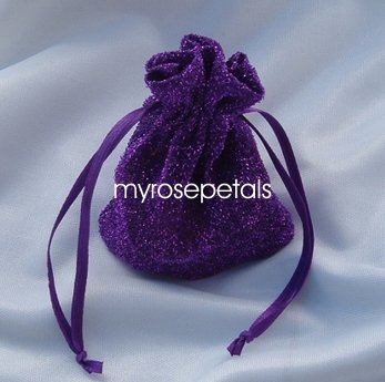 3x4 Sparkle Fabric Wedding Favor Gift Bags/Pouches - Purple (10 Bags)