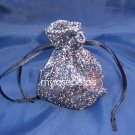 3x4 Sparkle Fabric Wedding Favor Gift Bags/Pouches - Black (10 Bags)