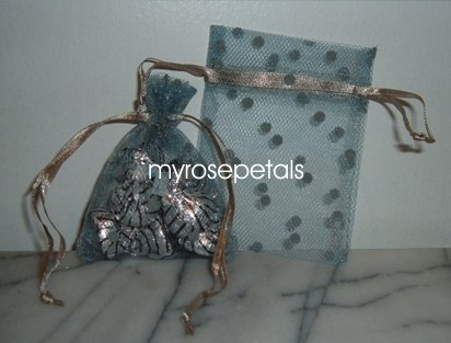 3x4 Tulle Polka Dots Wedding Favor Gift Bags/Pouches - Deep Silver (10 Bags)