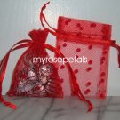 3x4 Tulle Polka Dots Wedding Favor Gift Bags/Pouches - Red (10 Bags)