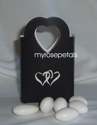 Favor Boxes - Black with White Double Hearts - (50 pcs) Wedding/Shower/Party Favors