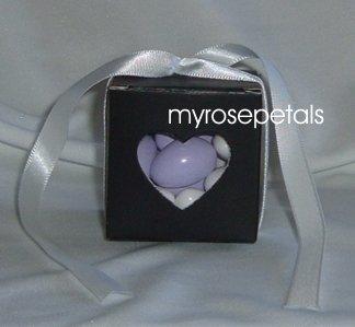 Favor Boxes - Transparent Heart - Black - (10 pcs) Wedding/Shower/Party Favors