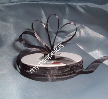 "Sheer Organza Ribbon Mono Edge - 3/8"" - 25 Yards (75 FT) - Black"