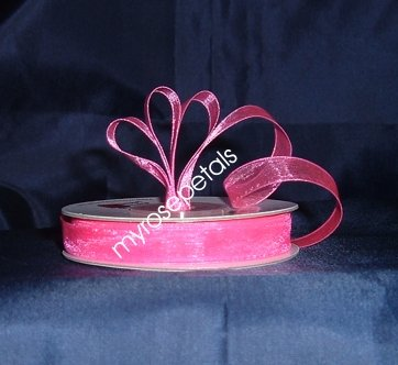 "Sheer Organza Ribbon Mono Edge - 3/8"" - 25 Yards (75 FT) - Hot Pink"