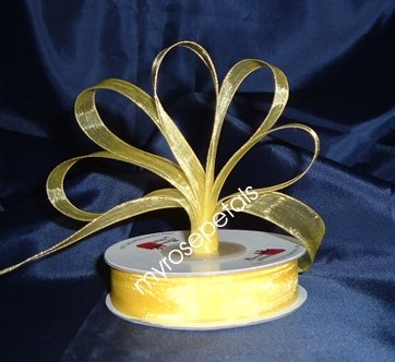 "Sheer Organza Ribbon Mono Edge - 3/8"" - 25 Yards (75 FT) - Yellow"