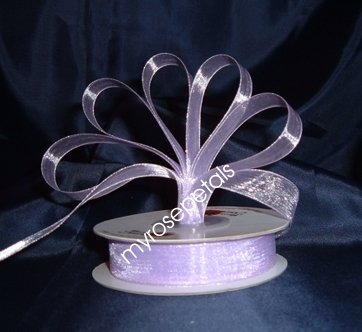 "Sheer Organza Ribbon Mono Edge - 3/8"" - 25 Yards (75 FT) - Lavender"
