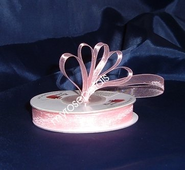 "Sheer Organza Ribbon Mono Edge - 3/8"" - 25 Yards (75 FT) - Pink"