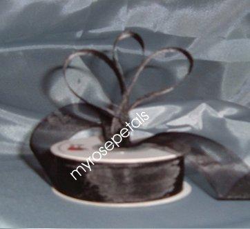 "Sheer Organza Ribbon Mono Edge - 5/8"" - 25 Yards (75 FT) - Black"