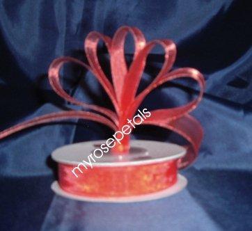 """Sheer Organza Ribbon Mono Edge - 5/8"""" - 25 Yards (75 FT) - Red"""