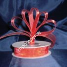 "Sheer Organza Ribbon Mono Edge - 5/8"" - 25 Yards (75 FT) - Red"