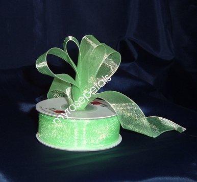 """Sheer Organza Ribbon Mono Edge - 7/8"""" - 25 Yards (75 FT) - Lime Green"""
