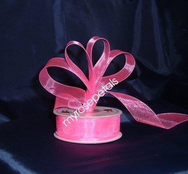"""Sheer Organza Ribbon Mono Edge - 7/8"""" - 25 Yards (75 FT) - Hot Pink"""