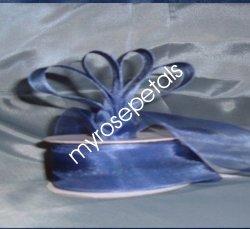 """Sheer Organza Ribbon Mono Edge - 7/8"""" - 25 Yards (75 FT) - Smoked Blue"""