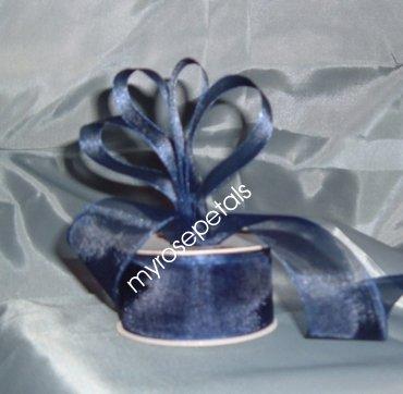"""Sheer Organza Ribbon Mono Edge - 1.5"""" - 25 Yards (75 FT) - Smoked Blue"""