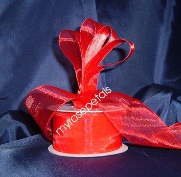 """Sheer Organza Ribbon Mono Edge - 1.5"""" - 25 Yards (75 FT) - Red"""