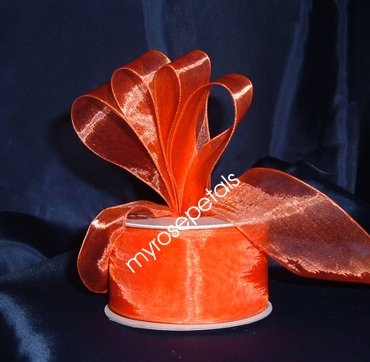 "Sheer Organza Ribbon Mono Edge - 1.5"" - 25 Yards (75 FT) - Orange"