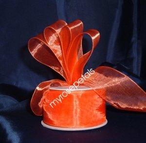 """Sheer Organza Ribbon Mono Edge - 1.5"""" - 25 Yards (75 FT) - Orange"""