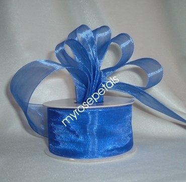 """Sheer Organza Ribbon Mono Edge - 1.5"""" - 25 Yards (75 FT) - Royal Blue"""