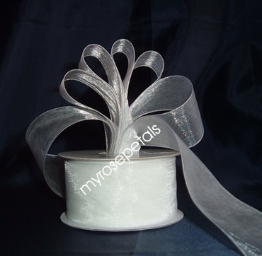 "Sheer Organza Ribbon Mono Edge - 1.5"" - 25 Yards (75 FT) - White"
