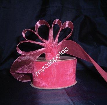 """Sheer Organza Ribbon Mono Edge - 1.5"""" - 25 Yards (75 FT) - Hot Pink"""