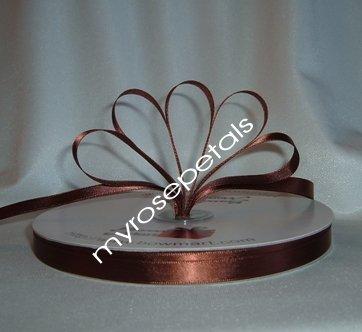 "Ribbon - Satin Ribbon- 3/8"" Single Face 100 Yards (300 FT) - Brown - Sewing - Craft - Wedding Favors"