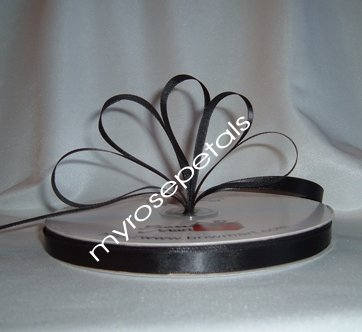 "Ribbon - Satin Ribbon- 3/8"" Single Face 100 Yards (300 FT) - Black - Sewing - Craft - Wedding Favors"