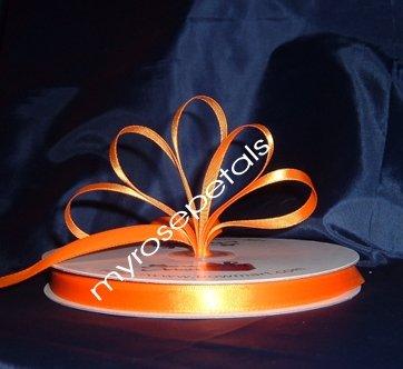 "Ribbon - Satin Ribbon- 3/8"" Single Face 100 Yards (300 FT) -Orange-Sewing-Craft -Wedding Favors"