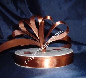 "Ribbon - Satin Ribbon- 5/8"" Single Face 50 Yards (150 FT) - Brown - Sewing - Craft - Wedding Favors"
