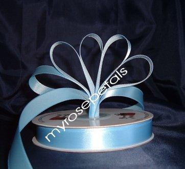 "Ribbon - Satin Ribbon- 5/8"" Single Face 50 Yards (150 FT) - Light Blue-Sewing-Craft- Wedding Favors"