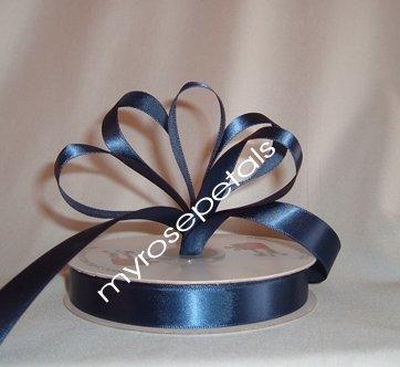 "Ribbon - Satin Ribbon- 5/8"" Single Face 50 Yards (150 FT) - Navy Blue-Sewing-Craft- Wedding Favors"
