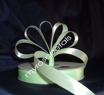 "Ribbon - Satin Ribbon- 5/8"" Single Face 50 Yards (150 FT) - Pale Green-Sewing-Craft- Wedding Favors"