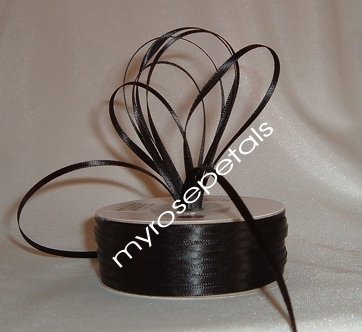 """Satin Ribbon- 1/8"""" Double Face 100 Yards (300 FT) - Black - Sewing - Craft - Wedding Favors"""