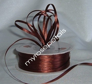 "Satin Ribbon- 1/8"" Double Face 100 Yards (300 FT) - Brown - Sewing - Craft - Wedding Favors"