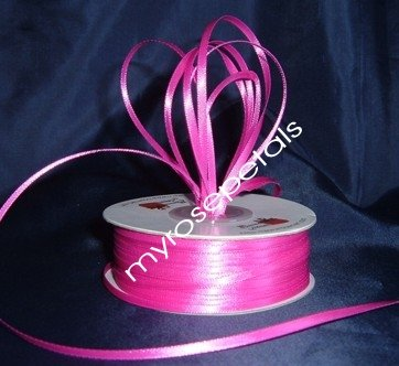 """Satin Ribbon- 1/8"""" Double Face 100 Yards (300 FT) - Hot Pink -Sewing-Craft-Wedding Favors"""
