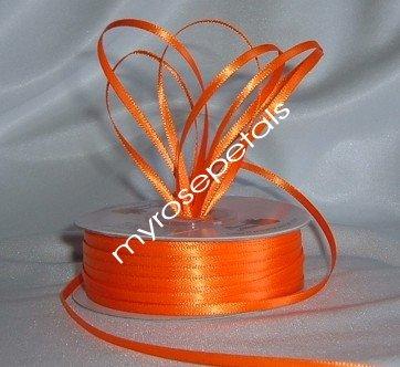 "Satin Ribbon- 1/8"" Double Face 100 Yards (300 FT) - Orange -Sewing-Craft-Wedding Favors"