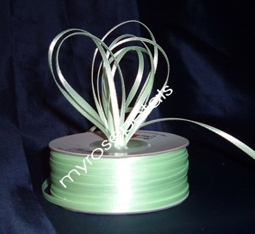 """Satin Ribbon- 1/8"""" Double Face 100 Yards (300 FT) - Pale Green -Sewing-Craft-Wedding Favors"""
