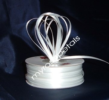 "Satin Ribbon- 1/8"" Double Face 100 Yards (300 FT) - White -Sewing-Craft-Wedding Favors"